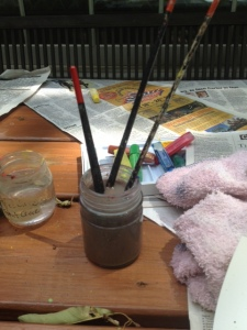 paint brushes and water color