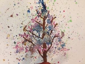 Autumn Bloom Tree Watercolour experiment