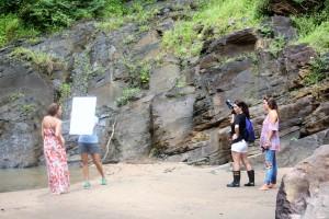 a photo shoot at the falls